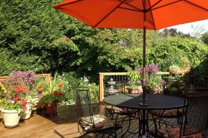 Patio table and flowers on the sun deck