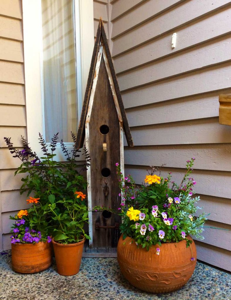 Birdhouse and flowers at front door