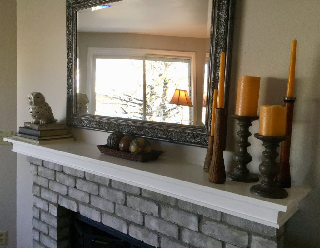 The fireplace in the family room.